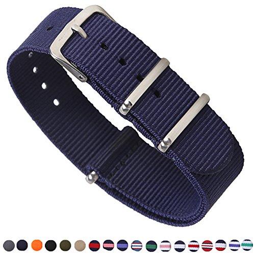 - Premium Canvas Fabric Watch Bands Ballistic Nylon Straps Width,Navy Blue,18mm