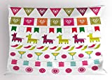Ambesonne Fiesta Pillow Sham, Latin American Motifs Flags Chili Peppers Cocktails Mexican Flag Color Party Pattern, Decorative Standard Size Printed Pillowcase, 26 X 20 inches, Multicolor