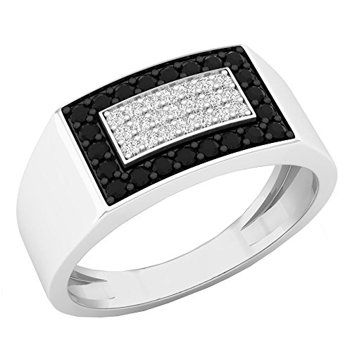 0.45 Carat (ctw) 10K White Gold Black & White Diamond Men's Hip Hop Pinky Ring 1/2 CT (Size 9.5) by DazzlingRock Collection
