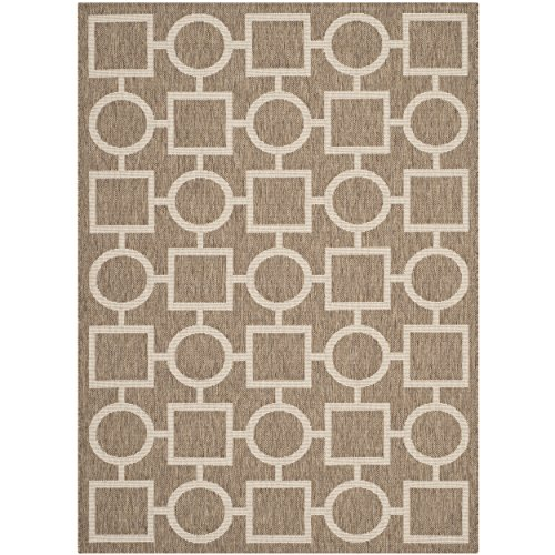 Traditional Brown Indoor Rugs - Safavieh Courtyard Collection CY6925-242 Brown and Bone Indoor/Outdoor Area Rug (4' x 5'7