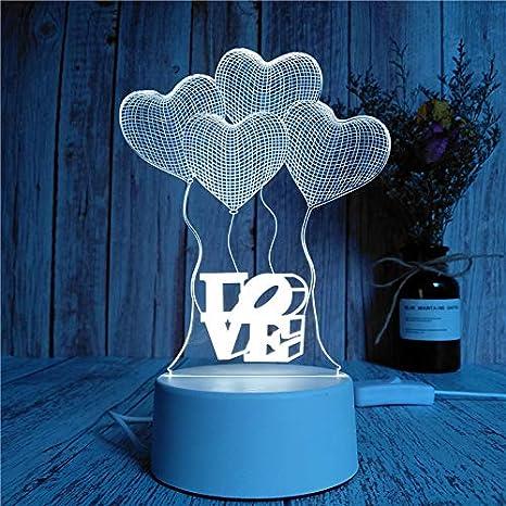 Creativo 3d luz de noche lámpara de mesa de cumpleaños hogar ...