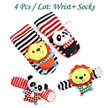 4pcs/lot Baby Toys Beads Bracelet Foot Baby Rattle Socks Garden Protect Wrist Animal
