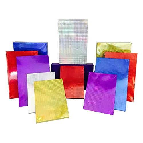 12 Hologram Gift Boxes + Tissue Paper, 2 Robe Box, 6 Shirt Box, 4 Lingerie Box (12 Boxes + Tissue, Fiesta) - Cheap Shirt Boxes
