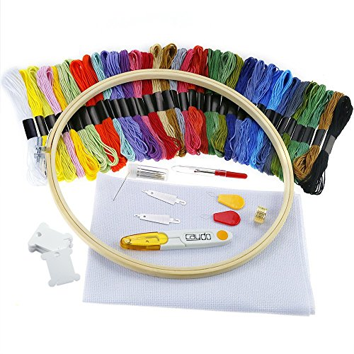 : Caydo Full Range of Embroidery Starter Kit Cross Stitch Tool Kit Including 10 Inch Bamboo Embroidery Hoop, 36 Color Threads, 12 by 18-Inch 14 Count Classic Reserve Aida and Tool Kit