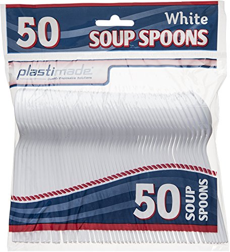 Plastimade Cutlery Heavy Weight White Plastic Soup Spoons 50 Soup Spoons In A Package Pack of 1 -