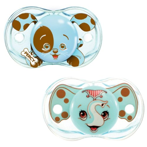 UPC 799471331705, RaZbaby Keep-It-Kleen Pacifier 2 Pack - Percy Blue & Elfy Elephant