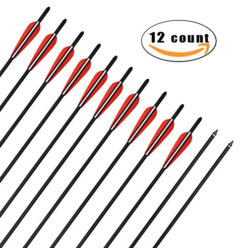 JY Crossbow Bolts 16'' Inch Archery Hunting Arrow Game Arrow Shaft and Target Arrow Shaft Replaceable Tips for Crossbow 12Pcs/box (20'') - 20' Crossbow Bolts