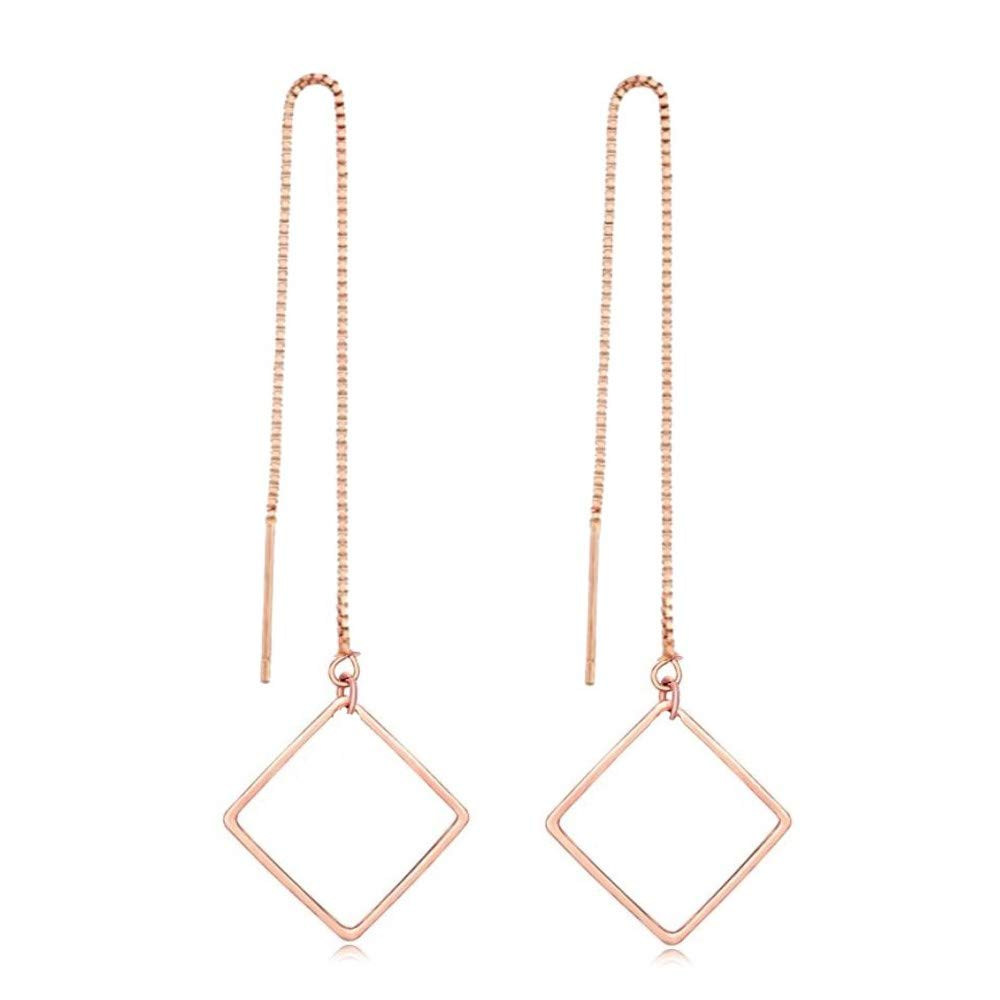 Nathis Rose Simple Geometric Square Drop Threader Earrings/ Valentines Day By Sizzling Silver