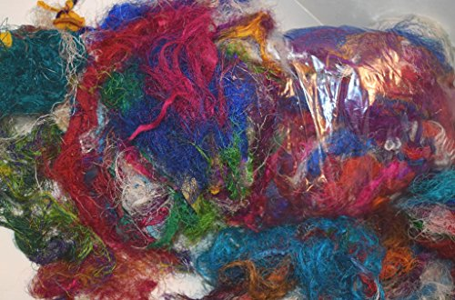 3 oz Sari Silk waste, threads, leftover art yarn for Mixed Media Felting Spinning Silk Paper Weaving Fiber, Textile Art Supply from India