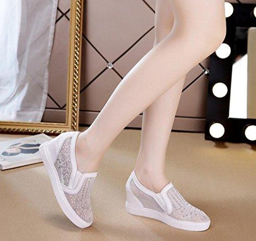 New Shoes Women's Heel White DANDANJIE Summer Casual Student Loafers Shoes Rhinestone Hidden Shoes Mesh dfZwq7xwI