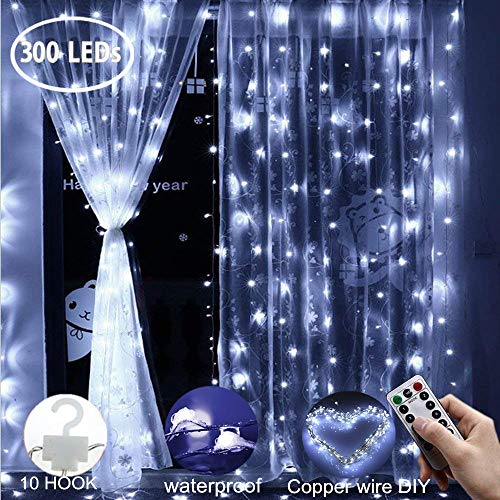 Curtain String Lights, 300 LEDs Window Curtain Fairy Lights Copper Wire Twinkle Star String Lights USB Remote Control 8 Modes Hanging Lights for Bedroom Decor Indoor Outdoor, Wedding - Cool White