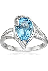 Sterling Silver, Pear-Shape Blue Topaz, and Diamond (1/10 cttw, I-J Color, I2-I3 Clarity) Ring, Size 7