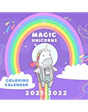 Magic Unicorns Coloring Calendar: With Large Cells Calendar Grid for Kids and Adults
