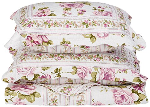 Patch Magic Peony Bloom 3-Piece Quilt Set King, Floral, Rose Purple (Fabric Quilt Peony)