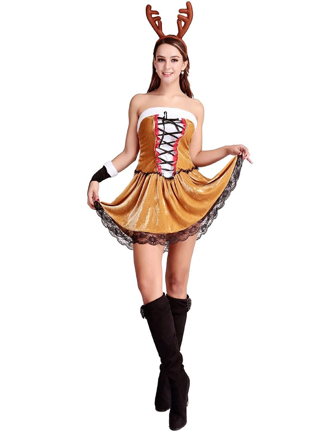 Amazon.com Eternatastic Womenu0027s Christmas Costume Reindeer Lingerie Dress Brown Clothing  sc 1 st  Amazon.com & Amazon.com: Eternatastic Womenu0027s Christmas Costume Reindeer Lingerie ...