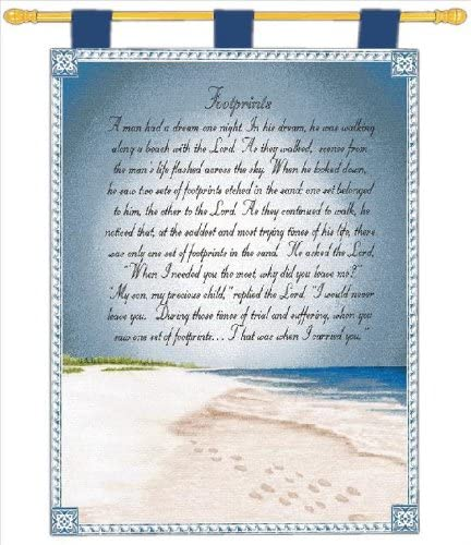 Manual Inspirational Collection 26 X 36-Inch Wall Hanging and Finial Rod, Footprints in The Sand