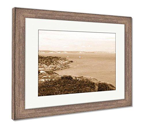 - Ashley Framed Prints Jurrasic Coast Dorset UK Portland, Wall Art Home Decoration, Sepia, 34x40 (Frame Size), Rustic Barn Wood Frame, AG6504760