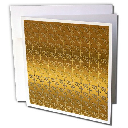 - 3dRose 777images Designs Patterns - Small gold entwined hearts and cross on a bright brass background. - 1 Greeting Card with envelope (gc_35988_5)