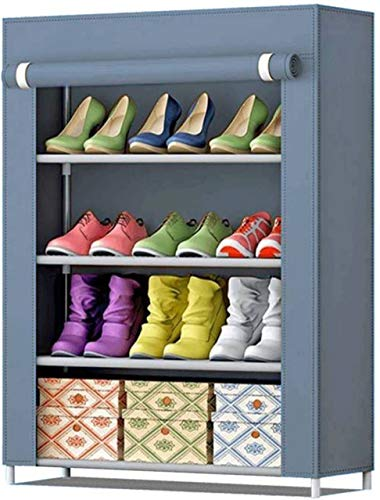 Zemic Multipurpose Portable Folding Shoes Rack 4 Tiers Multi-Purpose Shoe Storage Organizer Cabinet Tower with Iron and…