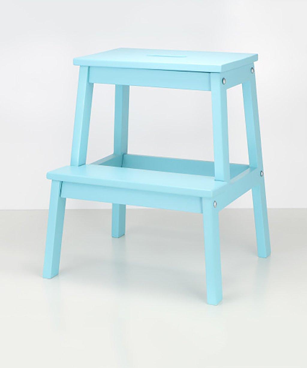 ZEMIN ダイニングチェア椅子の木の木製折り畳み 移動可能な階段、5色、36 * 36 * 50CMを使用してポータブルソリッドウッドラダー椅子 ( 色 : 青 ) B078WP6VF9青