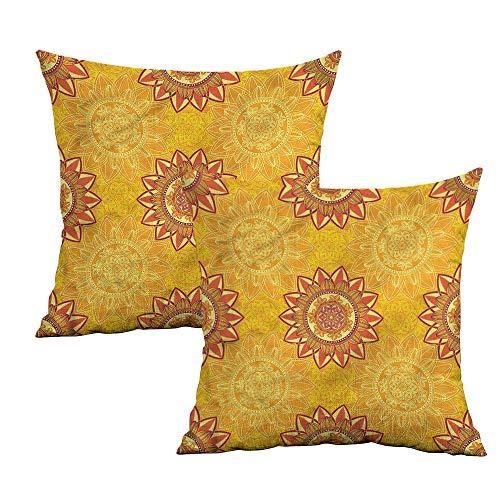 12' Pink 50 Sheets - Khaki home Yellow Mandala Square Pillowcase Covers Arabesque Elements Square Pillowcase Covers with Zipper Cushion Cases Pillowcases for Sofa Bedroom Car W 20
