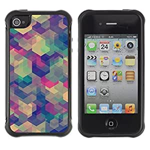 WAWU Funda Carcasa Bumper con Absorci??e Impactos y Anti-Ara??s Espalda Slim Rugged Armor -- polygon art shapes pastel bright -- Apple Iphone 5C