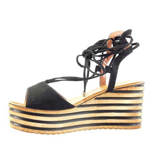 12096ea0560c Angkorly - Chaussure Mode Sandale Mule plateforme femme lignes lacets  lanière Talon compensé plateforme 8 CM