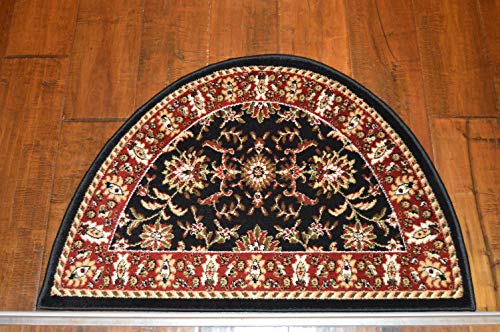 2'2'' x 3'3'Traditional Design Hearth Slice Rug Black Burgundy Fireplace Lodge Cabin Doormat by Premier