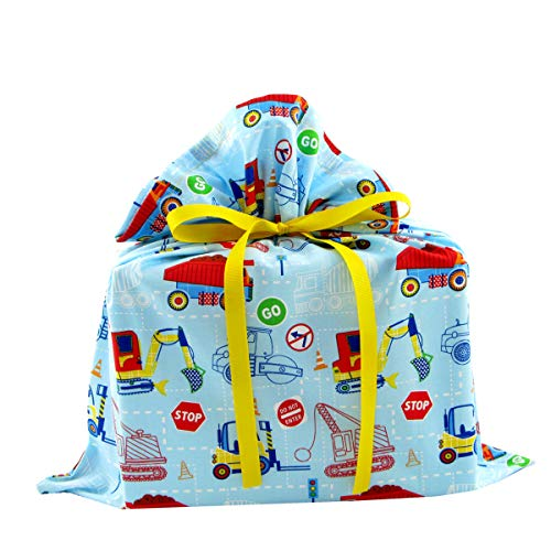 Construction Trucks Reusable Fabric Gift Bag for Child's Birthday or Baby Shower (Medium 17 Inches Wide by 18 Inches High) (Wrapping Monster Truck Paper)