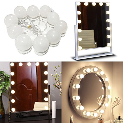 Benagio Set of 10 Hollywood Style Led Vanity Mirror Lights Kit With Dimmable Light Bulbs, Lighting Fixture Strip For Makeup Vanity Table Set In Dressing Room