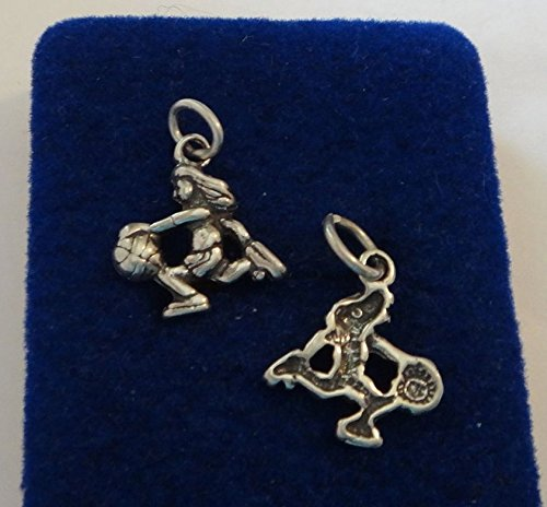 1 Sterling Silver 15x15mm Female Girl Basketball Player Charm