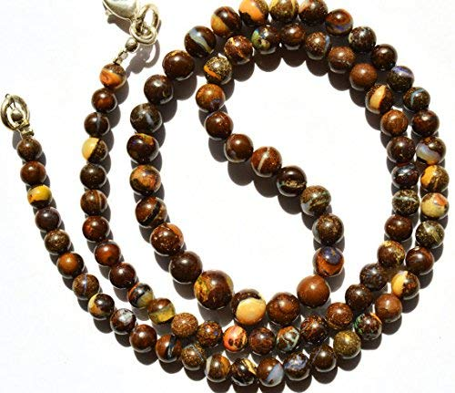 (1 Strand Natural Australian Boulder Opal 4-7MM Smooth Round Beads 18 Inch by)