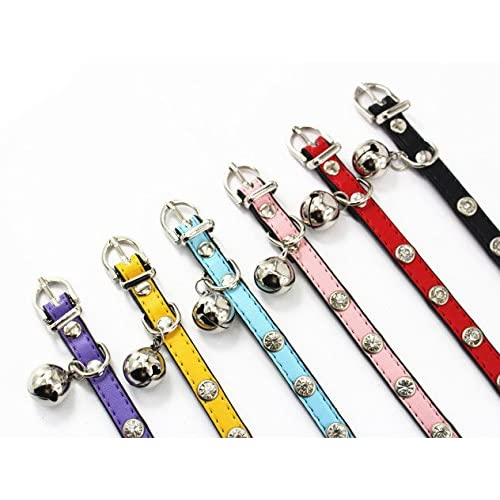 Cute Fashion Jeweled Pet Collar for Puppies/Cats with Bell XS S Red/Blue/Purple/Black/Yellow/Pink chic