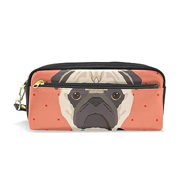 Estuche de piel con diseño de perro pug con sombrero, bolsa ...