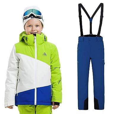 CXJC Traje de esquí para niños Chaqueta de esquí + Tirantes ...