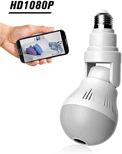 WiFi Bulb Security Camera 1080P HD – Wireless 360 Degree Panoramic IP Camera Bulb – 2MP LED Light Camera Lamp – Remote Floodlight and Infrared Night Vision, Motion Detection for iPhone Android Windows