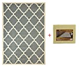 "Cheap Trellis Area Rug With Pad Moroccan Design Non-skid Rug Pad (Gray, 4'9″x6'10"")"