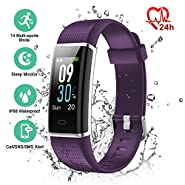 ESOLOM Fitness Tracker, Activity Tracker with Heart Rate/Sleep Monitor, Step/Calorie Counter, Color Screen Sports Watch For Kids Women Men, IP68 Waterproof Smart Wristband for Android?iOS