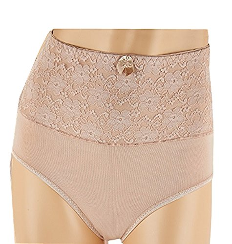 Carol Wior Lace Waistband Control Belly Band Panty (Large, Nude) (Lace Band Panties)