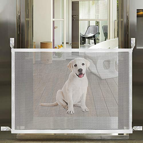 Accmor Magic Gate for Dogs, Portable Folding Pet Safety Gate Mesh Magic Gate for Dogs with Removable Sticky Hook, Safe Guard Pet Safety Enclosure Install Anywhere (White)