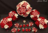Red and Ivory Beaded Lily Bridal Wedding Flower 18 piece set with Peonies and Roses~ Unique French beaded flowers. Includes Bouquets Corsages and Boutonnieres