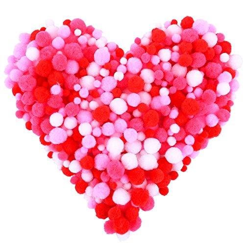 Coobey 600 Pieces Valentine Craft Pom Poms Assorted Sizes and Colors Pom Poms Balls for DIY Creative Crafts
