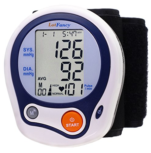 LotFancy Automatic Digital Wrist Blood Pressure Monitor with Case, Irregular Heartbeat Detector, 60 Memories, WHO Indicator, FDA Approved, Large LCD (Wrist Blood Pressure Cuff Black compare prices)
