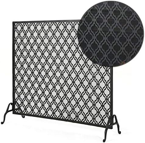 暖炉スクリーン シングルパネル 手作り 鉄 暖炉スクリーン ブラック - 大 自立 スパークガード 金網 直火/ガス火災/ログウッドバーナー用 (Color : Black)