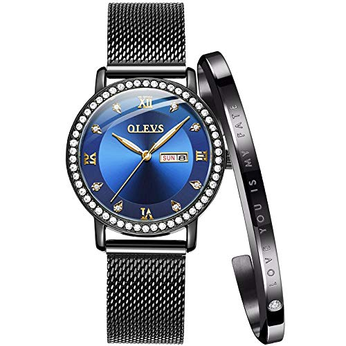 Fashion Watches for Women Waterproof Watch Women with Date Quartz Analog Ladies Watches Female Wrist Watch Luxury Rhinestone Blue face Black Mesh milanese Stainless Steel with Rose Gold Bracelet Set