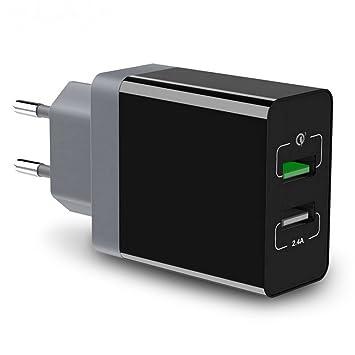 Cargador Con 2 Puertos USB de TTMOW, Adaptador de Cargador Quick Charge 3.0 Con Un Puerto De Carga Rápida 3.0 y un puerto de 5V / 2,4A, Tamaño Mini ...