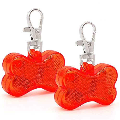 Higo LED Dog Tag, Pack 2pcs Bone-shape Light up Pet ID Tag Pet Safety Collar Pendants Lights Lovely Pets Safety Nighttime Walking (Red)