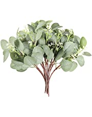 """Faflor 12Pcs Artificial Greenery Eucalyptus Stems 11.8"""" Faux Seeded Eucalyptus Plant Branches Fake Silver Dollar Eucalyptus Leaves Plant for Wedding Bouquets Crafts Table Centerpieces Vase Decor"""