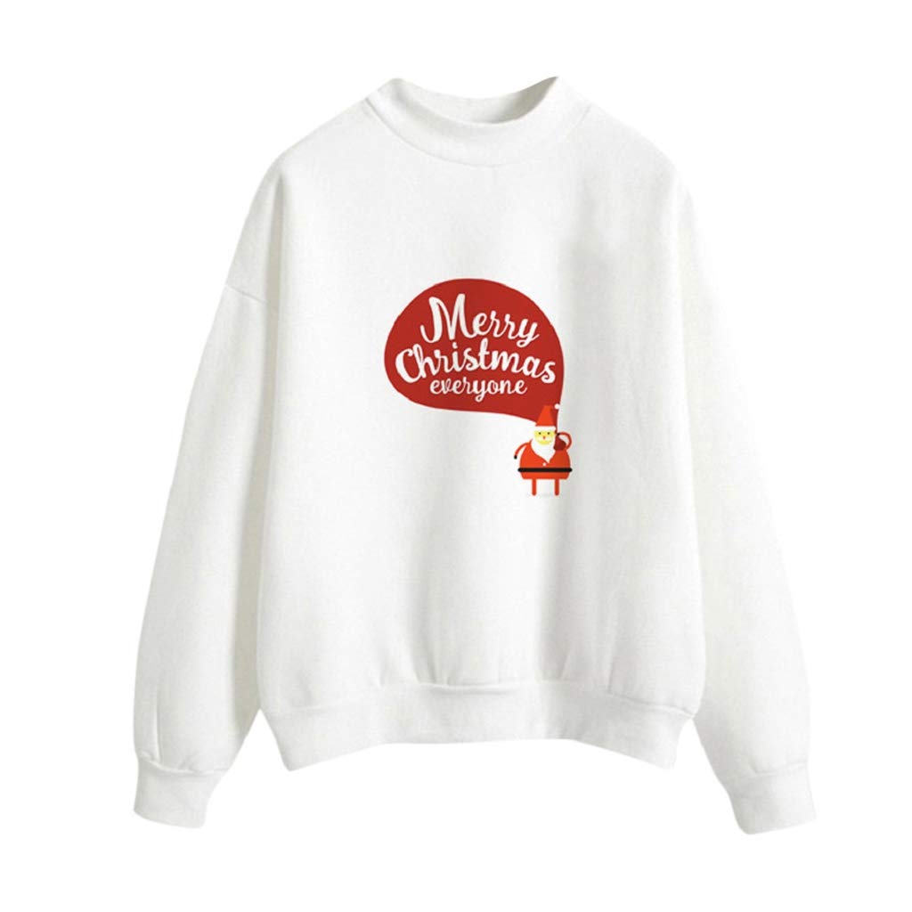Soupliebe Frauen Weihnachten Print Langarm Damen Bluse Pullover Tops Shirt Sweatershirt Kapuzen Sweatjacke Kapuzenpullover Hoodie
