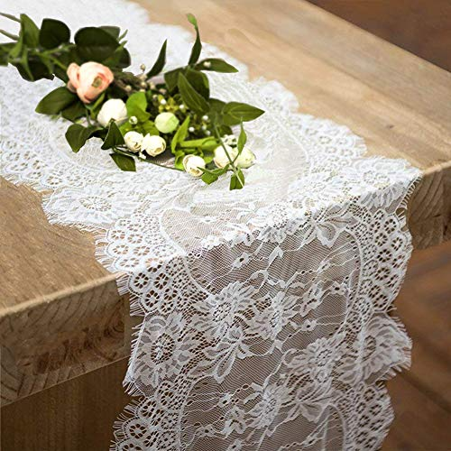 2 Pack Lace Table Runner 12 × 120 Inch White Classy for Rustic Boho Wedding Bridal Shower Party Decorations, Rose Vintage Embroidered Reception Table Runners Decor -